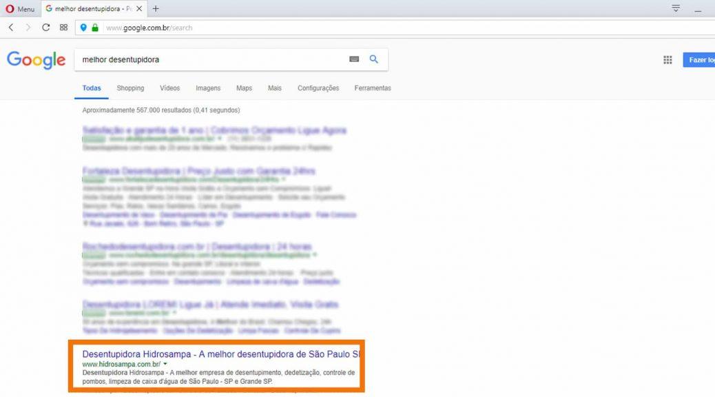 """A Next Step coloca a Desentupidora Hidrosampa em primeiro lugar no Google para o termo """"Desentupidora"""" e """"Melhor Desentupidora"""""""