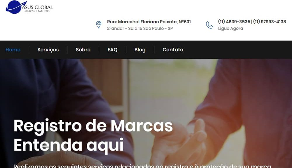 Criamos o site da Asus Global Marcas e Patentes - Agência Next Step - Criação de Sites e Consultoria SEO