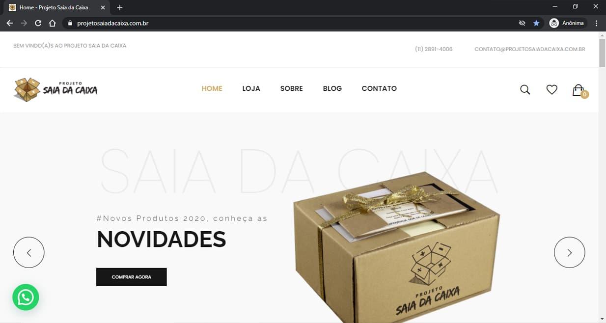 Criamos a loja do Projeto Saia da Caixa - Agência Next Step - Criação de Sites, Consultoria SEO e Hospedagem de Sites em Suzano - SP