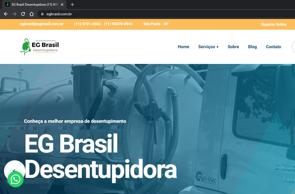 Criamos o site da EG Brasil Desentupidora - Agência Next Step: criação de sites, otimização de sites e hospedagem de sites